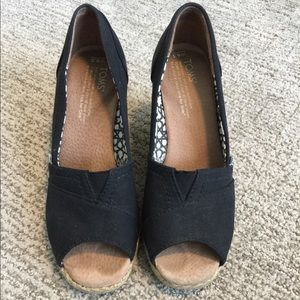Tom's Wedge Canvas Peep Toe Sandals